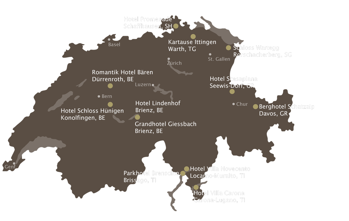 Swiss Map Gartenhotels Schweiz